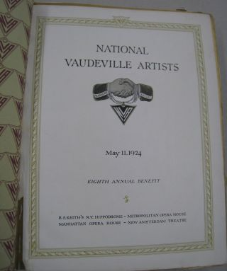 National Vaudeville Artists; May 11, 1924 Eight Annual Benefit
