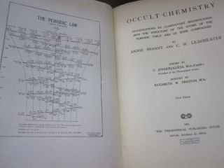 Occult Chemistry; Investigations by Clairvoyant Magnification into the Structure of the Atoms of the Periodic Table and of some Compounds