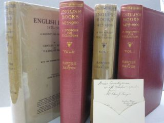 English Books 1475-1900; A Signpost for Collectors. Volume 1:: Caxton to Johnson, Volume 2: Gray...