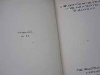 A Bibliography of the Writings of William Butler Yeats.