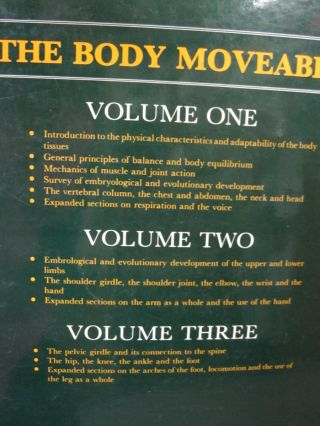 The Body Moveable; Blueprints of the Human Musculoskeletal System its Structure, Mechanics, Locomotor and Postural Functions. THREE VOLUMES