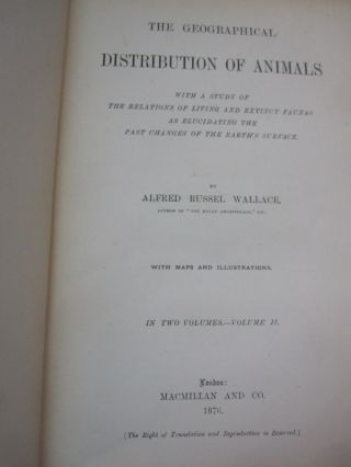 The Geographical Distribution of Animals 2 vol set.