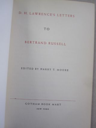 D. H. Lawrence's Letters to Bertrand Russell.