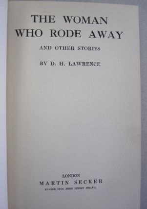 The Woman Who Rode Away; and other stories